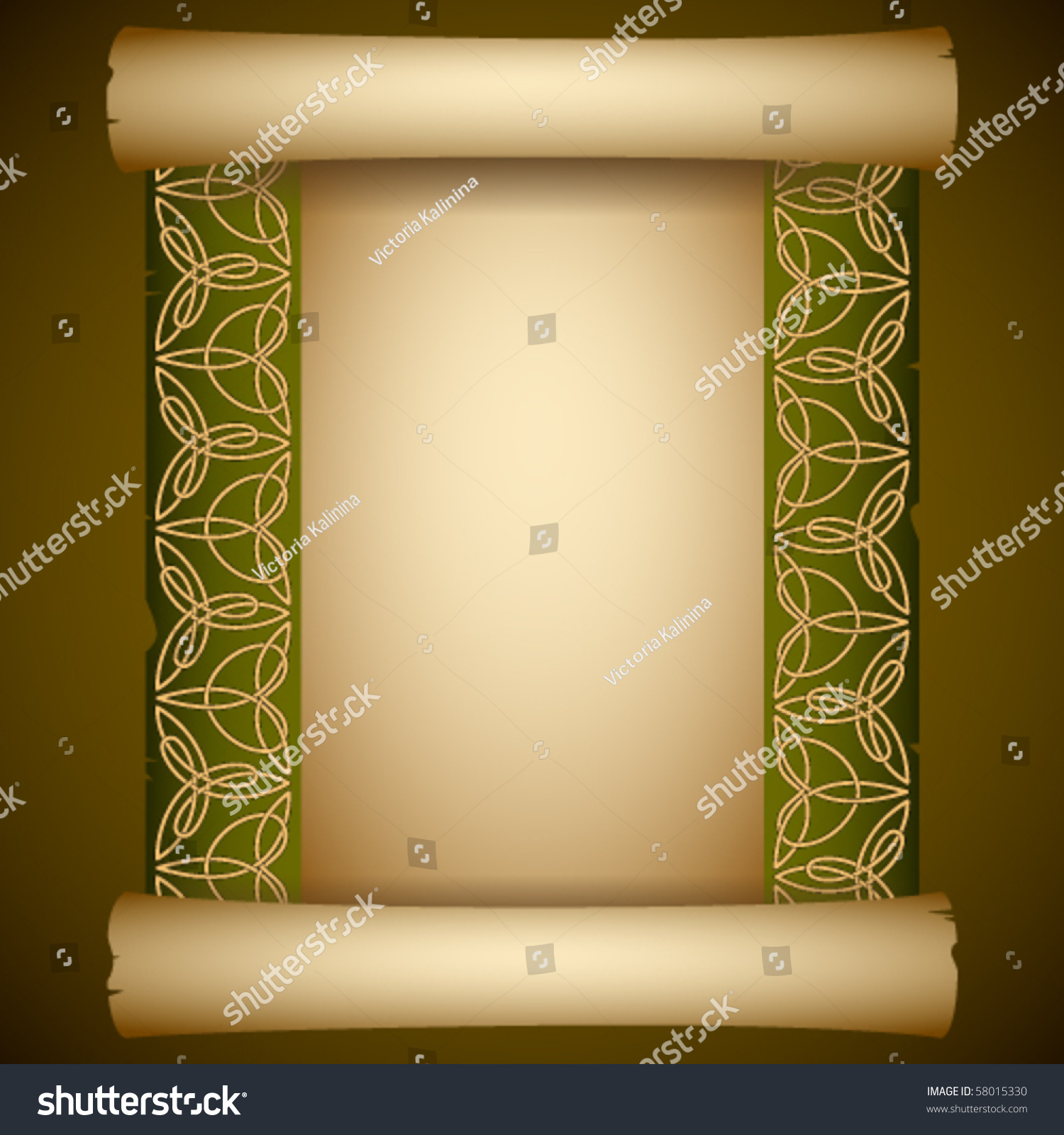 vintage background ancient scroll with celtic ornament