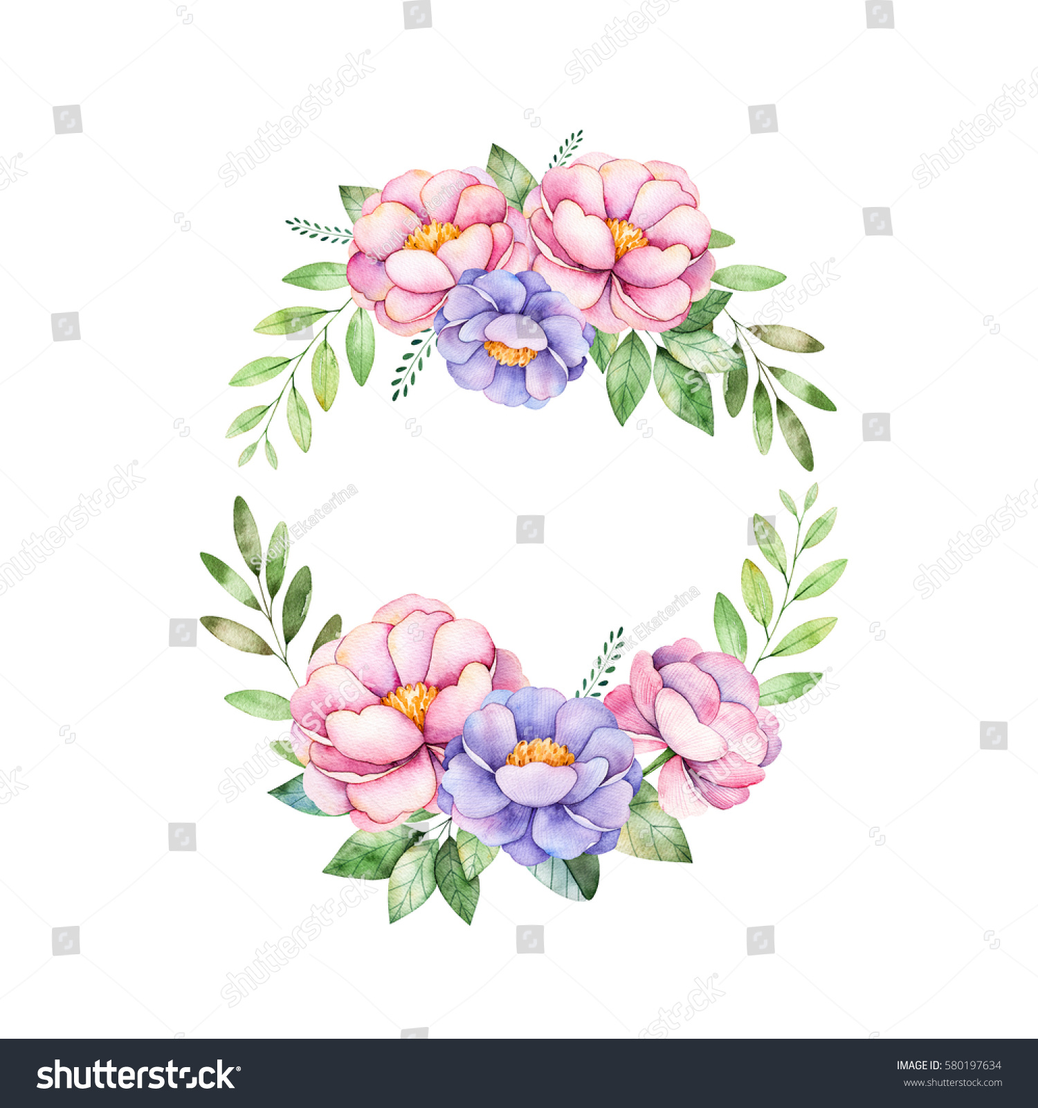 Colorful Floral Pastel Wreath Peonyflowersleaves Leaves Perfect