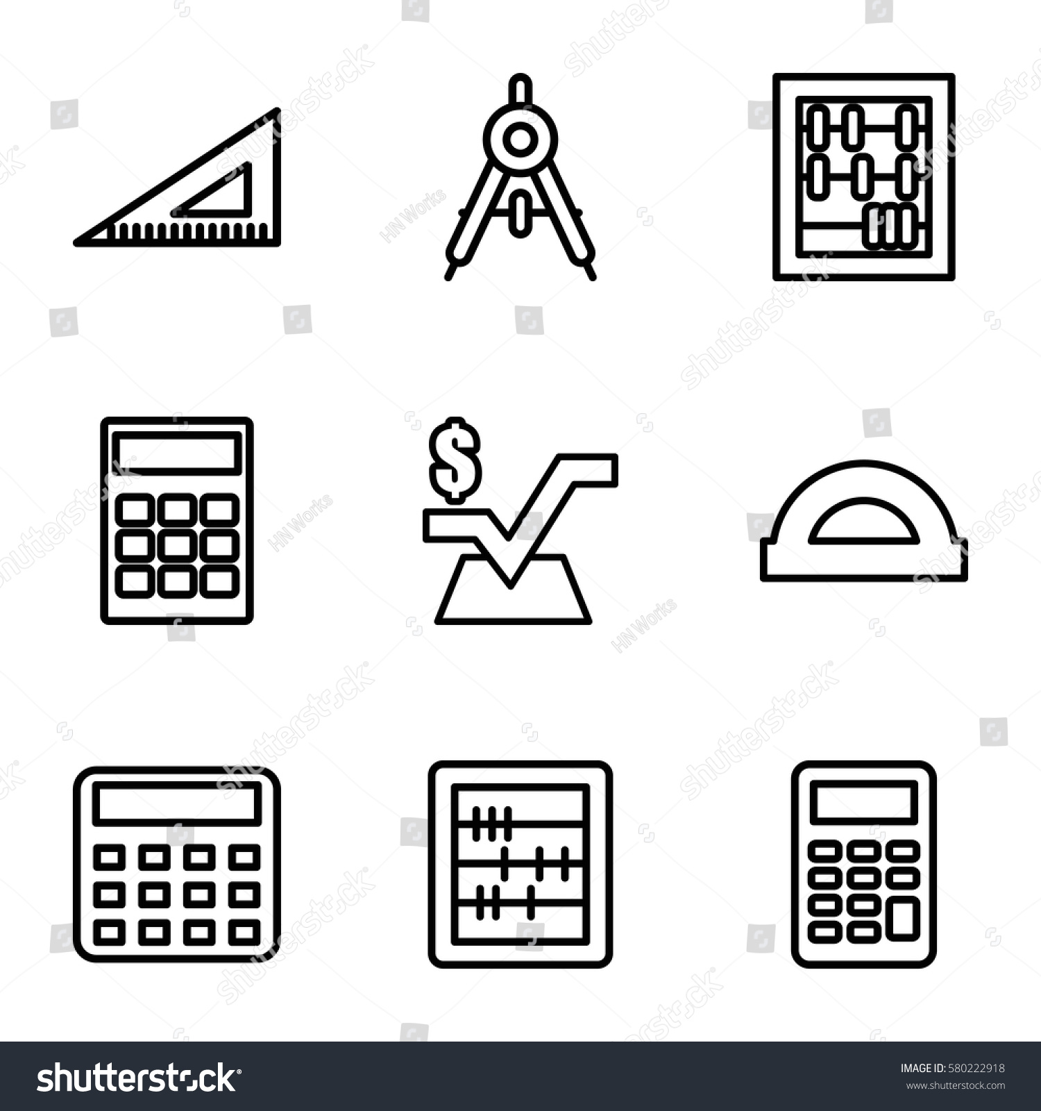 Mathematics vector icons set 9 mathematics stock vector 580222918 mathematics vector icons set of 9 mathematics outline icons such as compass calculator buycottarizona Image collections