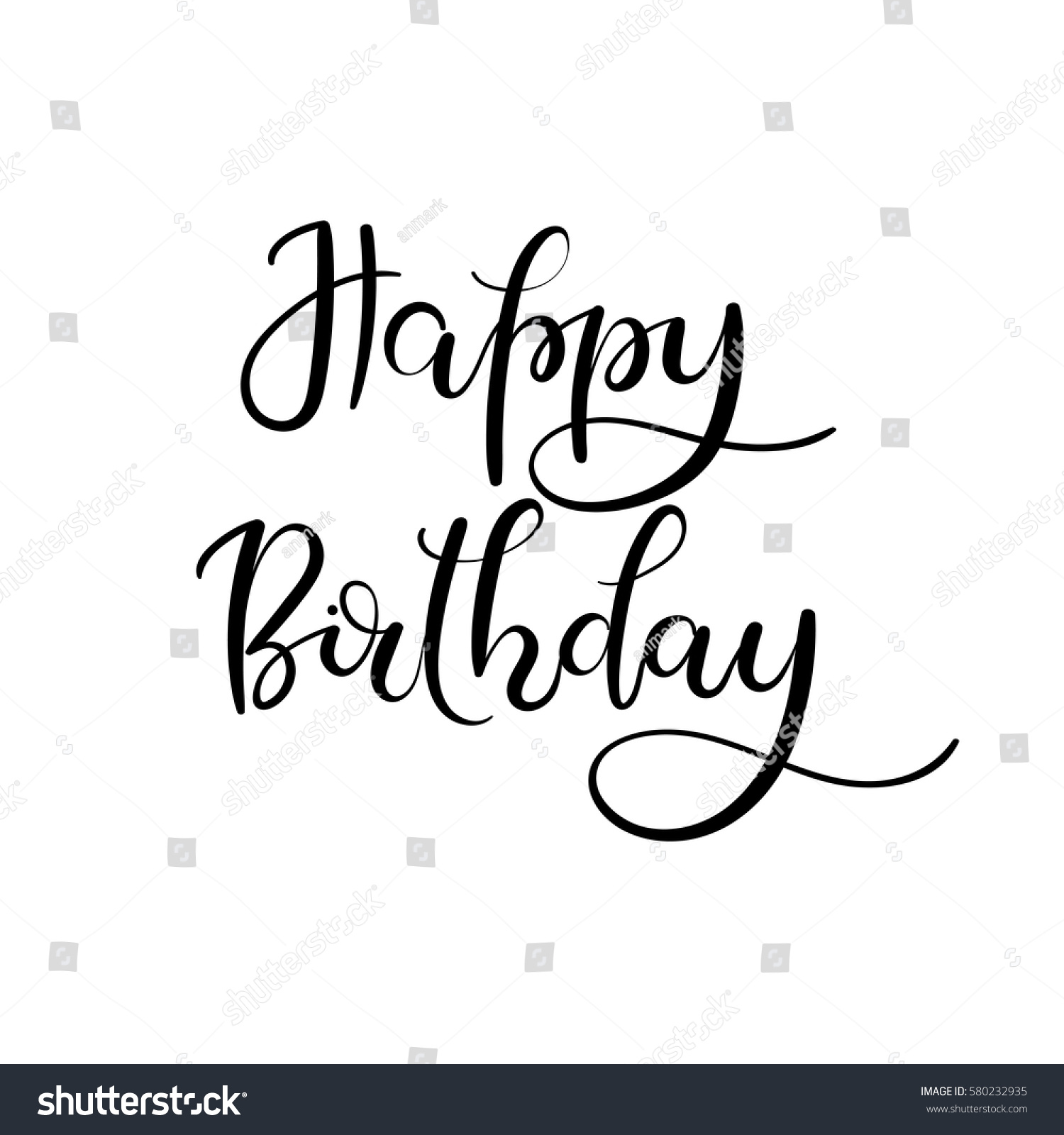 Happy birthday sign in elegant black script type with ornament - Happy Birthday Hand Lettering Greeting Card Modern Calligraphy Vector Illustration