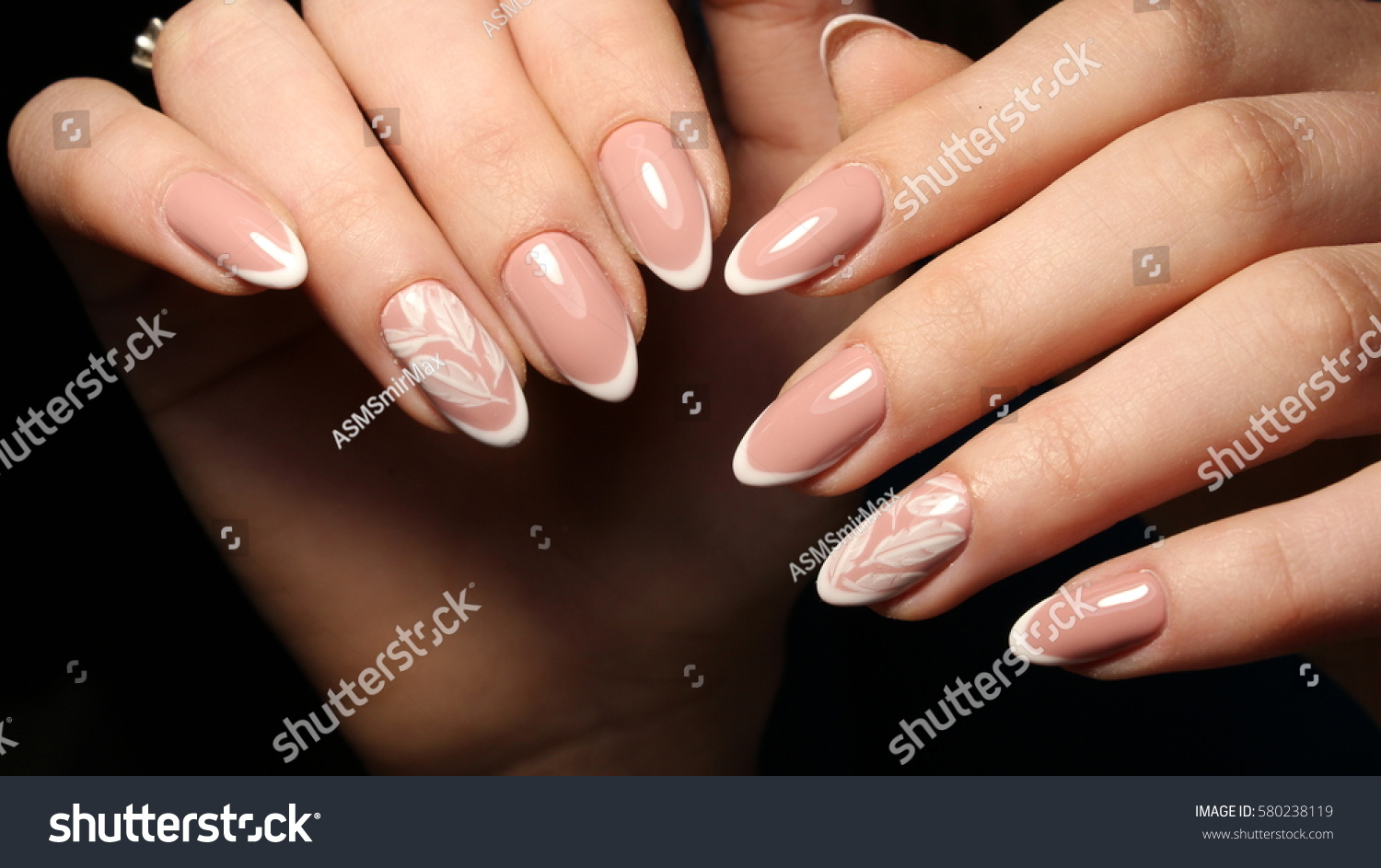 Nail Design French Manicure White Patterned Stock Photo (Safe to Use ...