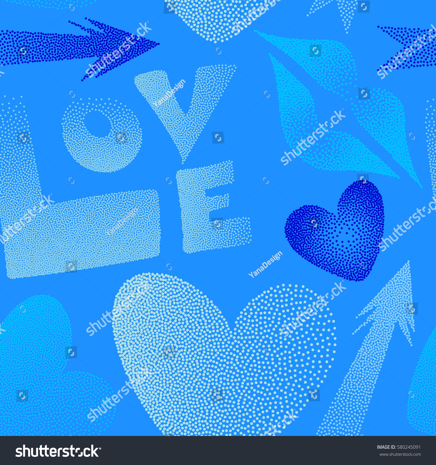 Romantic Love Symbols Blue Colors Vector Stock Vector 2018