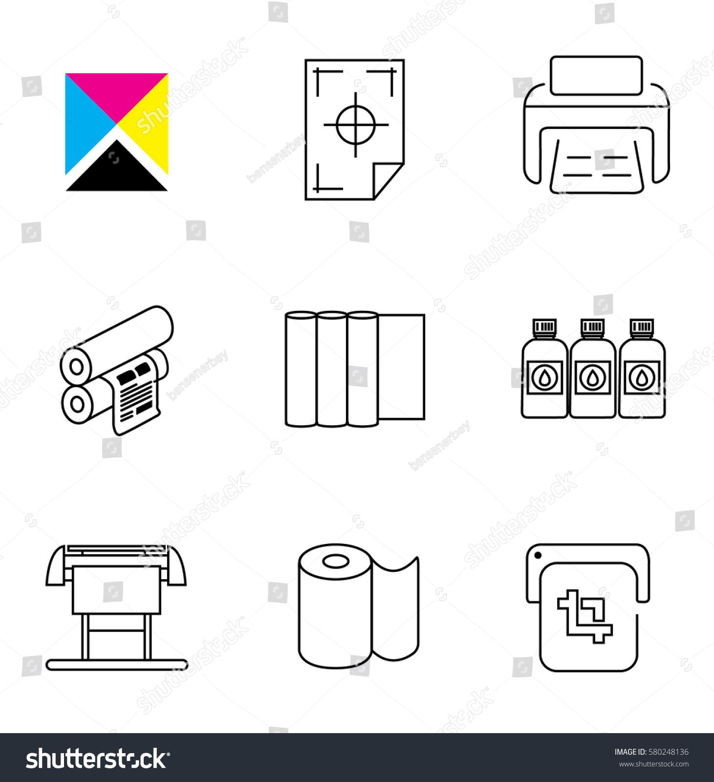 Print Shop Digital Printing Icon Set Stock Vector ...