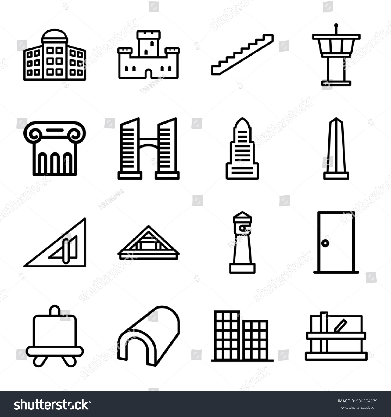Architecture Vector Icons Set 16 Architecture Stock Vector Royalty