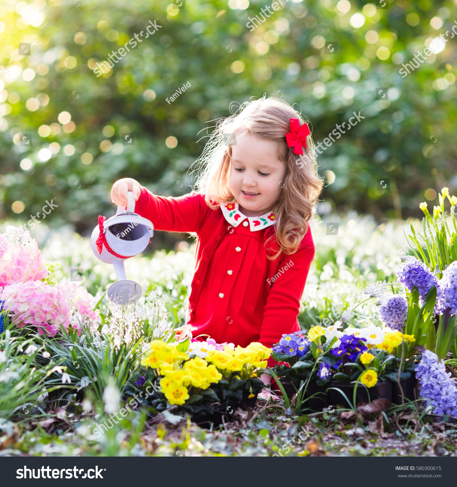 Child Planting Spring Flowers Sunny Garden Stock Photo Edit Now