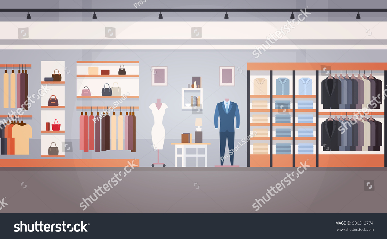 Fashion Shop Interior Clothes Store Banner Stock Vector ...