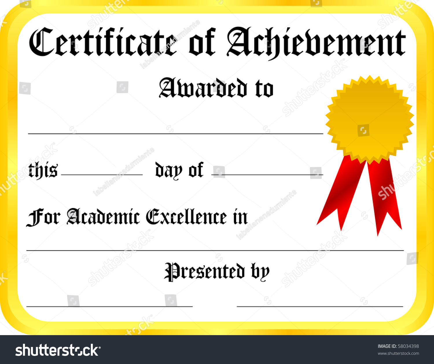 Certificate Achievement Template Illustration 58034398 – Template Certificate of Achievement