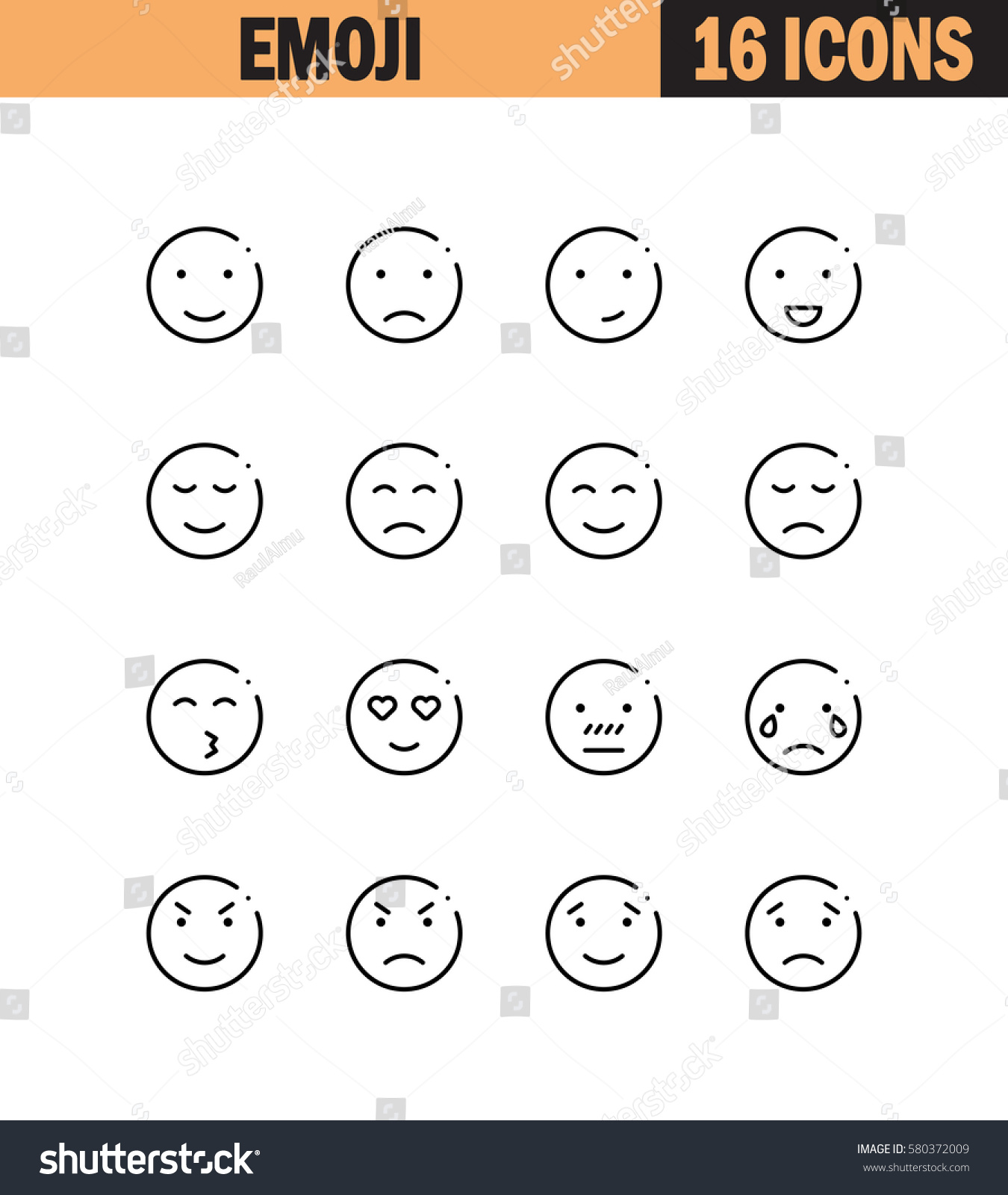 Emoji flat icon set collection high stock vector 580372009 emoji flat icon set collection of high quality outline symbols for web design mobile buycottarizona
