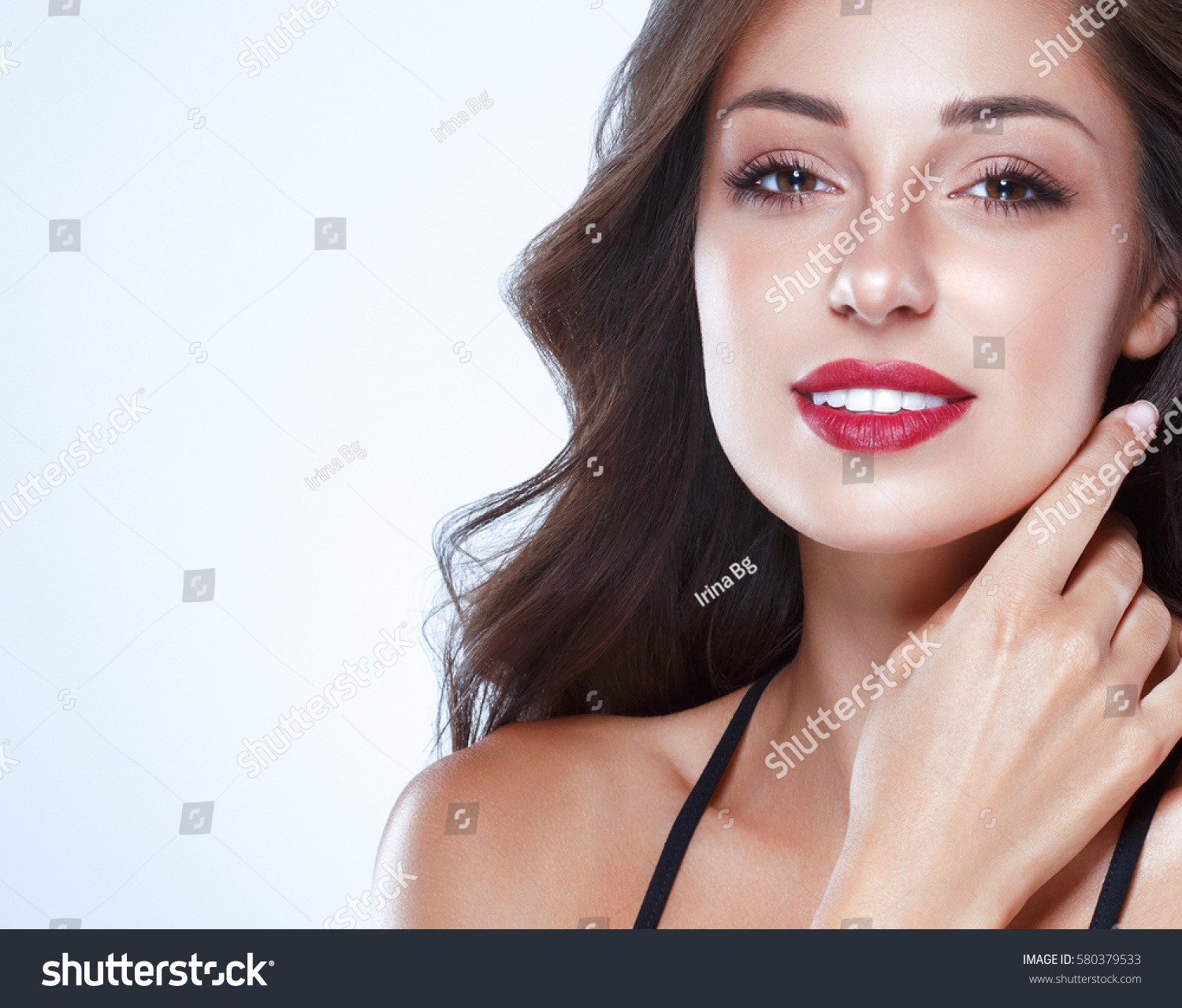 beautiful woman skin tanned red lips stock photo 580379533