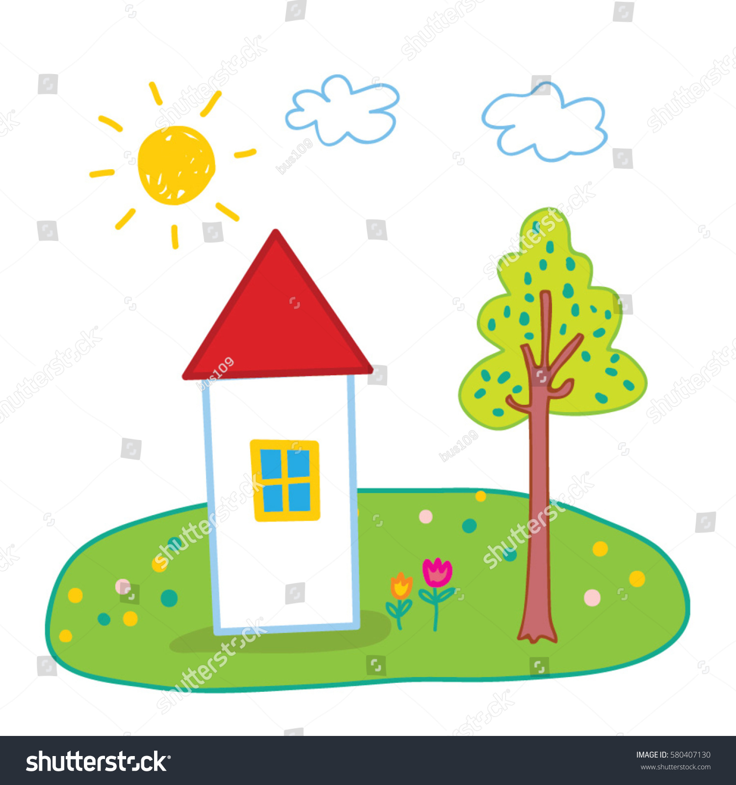 Kids Color Drawing House Sun Cloud Stock Photo (Photo, Vector ...