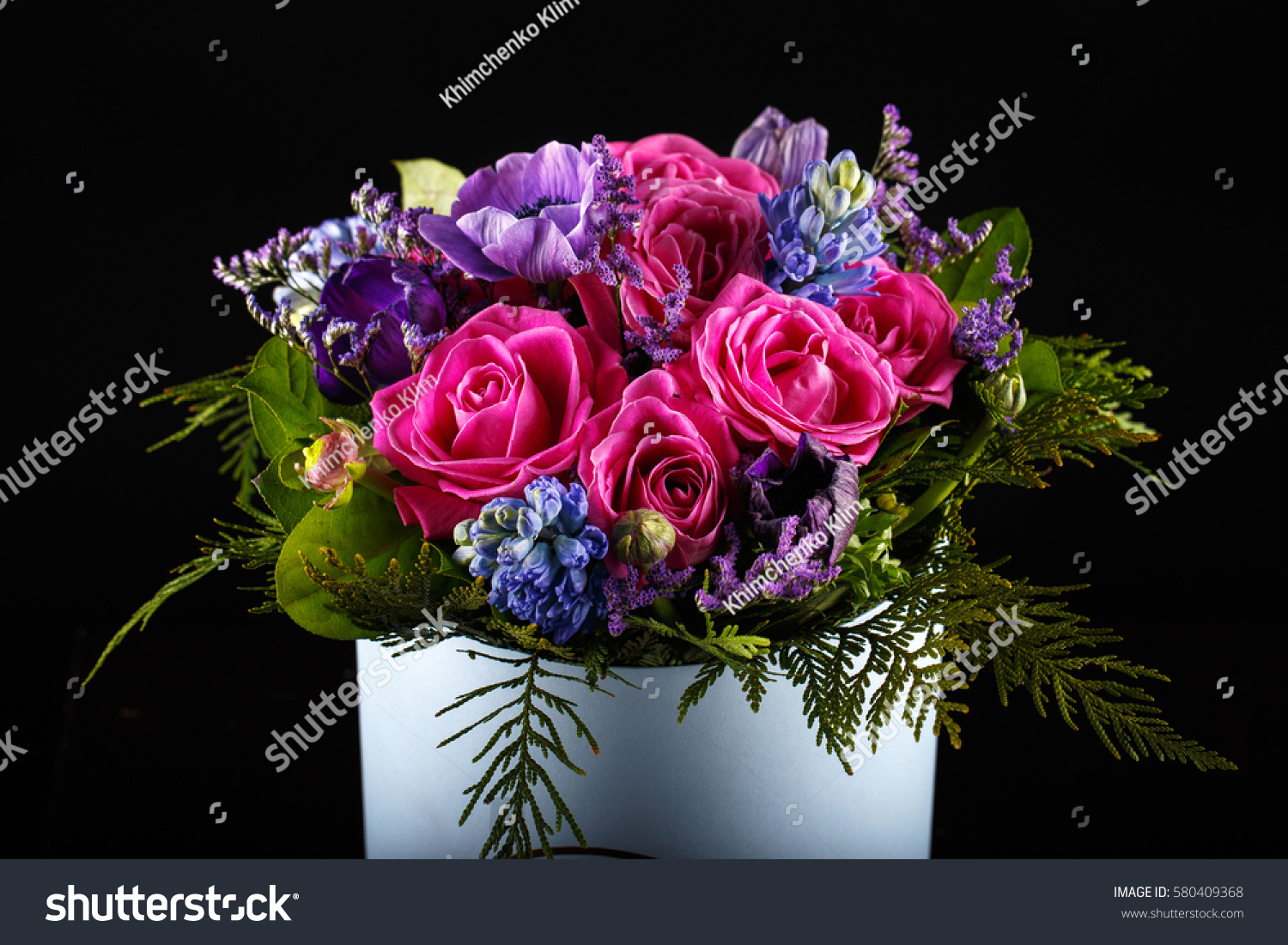 Beautiful Flower Bouquet On Black Background Stock Photo Edit Now