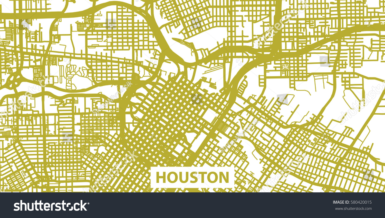 Detailed Vector Map Houston Gold Title Stock Vector - Houston map usa
