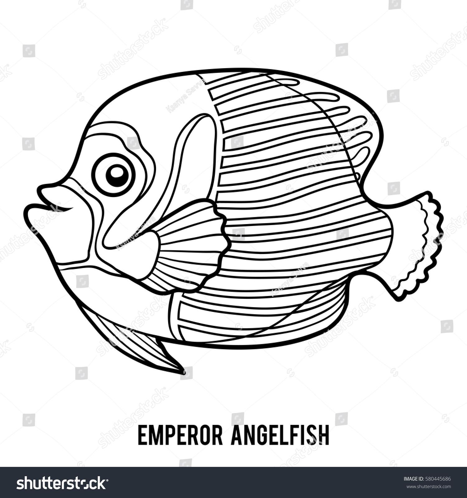 coloring book children emperor angelfish stock vector 580445686