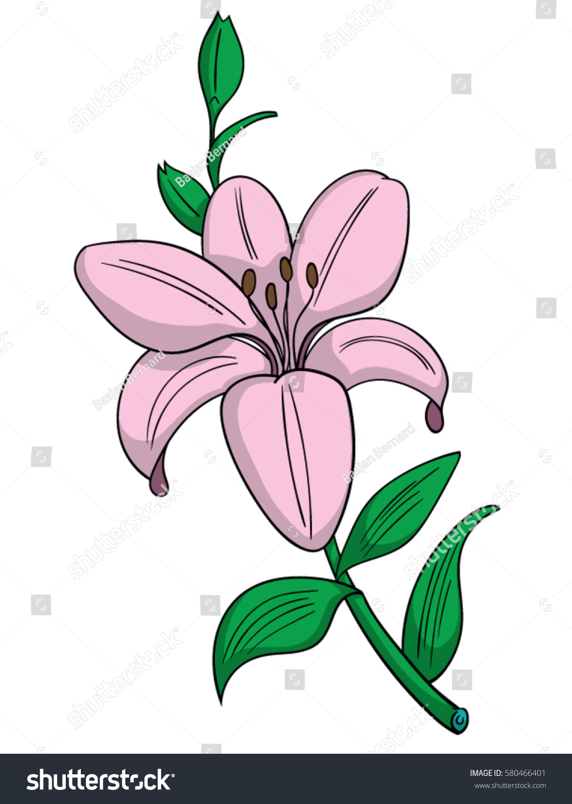 Cartoon style pink lily flower stock vektorgrafik 580466401 cartoon style pink lily flower izmirmasajfo