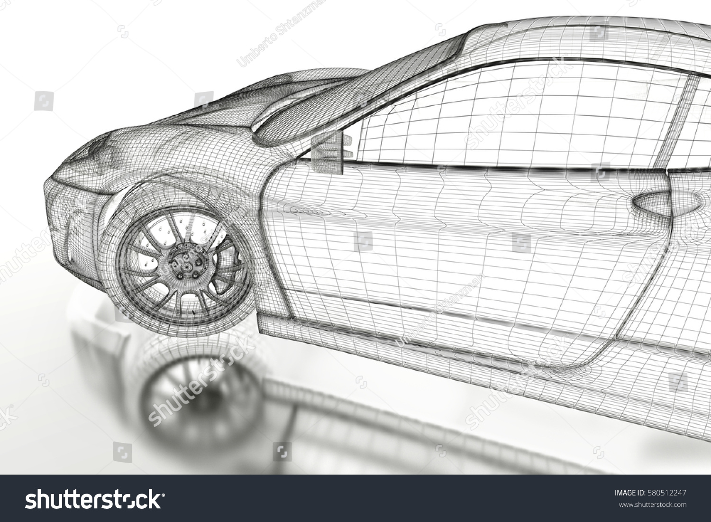 Car Vehicle 3d Blueprint Mesh Model Stock Illustration 580512247 ...