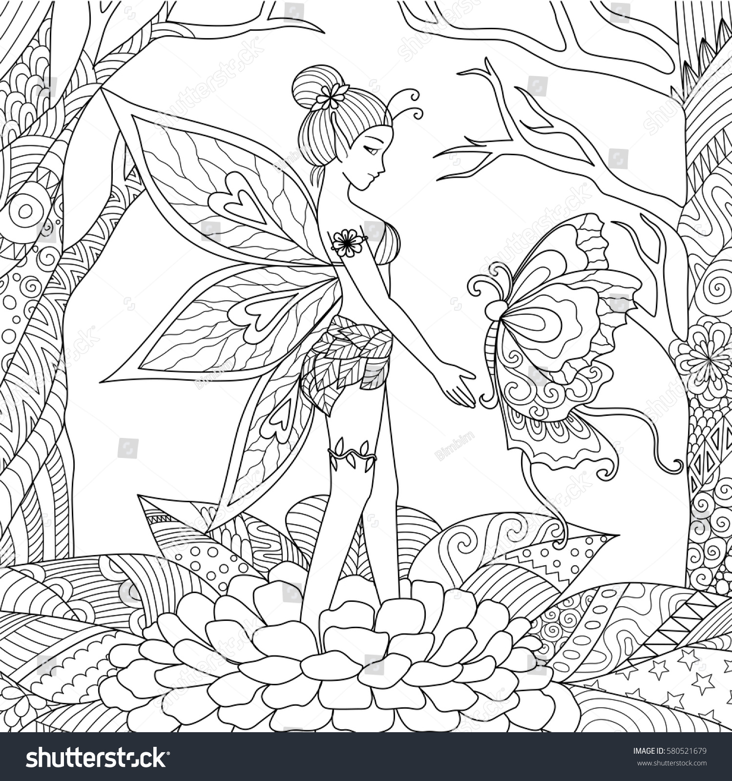pretty fairy girl playing with big beautiful butterfly in the jungle for adult coloring book page - Thunder Cats Coloring Book Pages