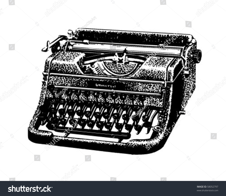 Vintage Typewriter Retro Clip Art Stock Vector 58052797 - Shutterstock