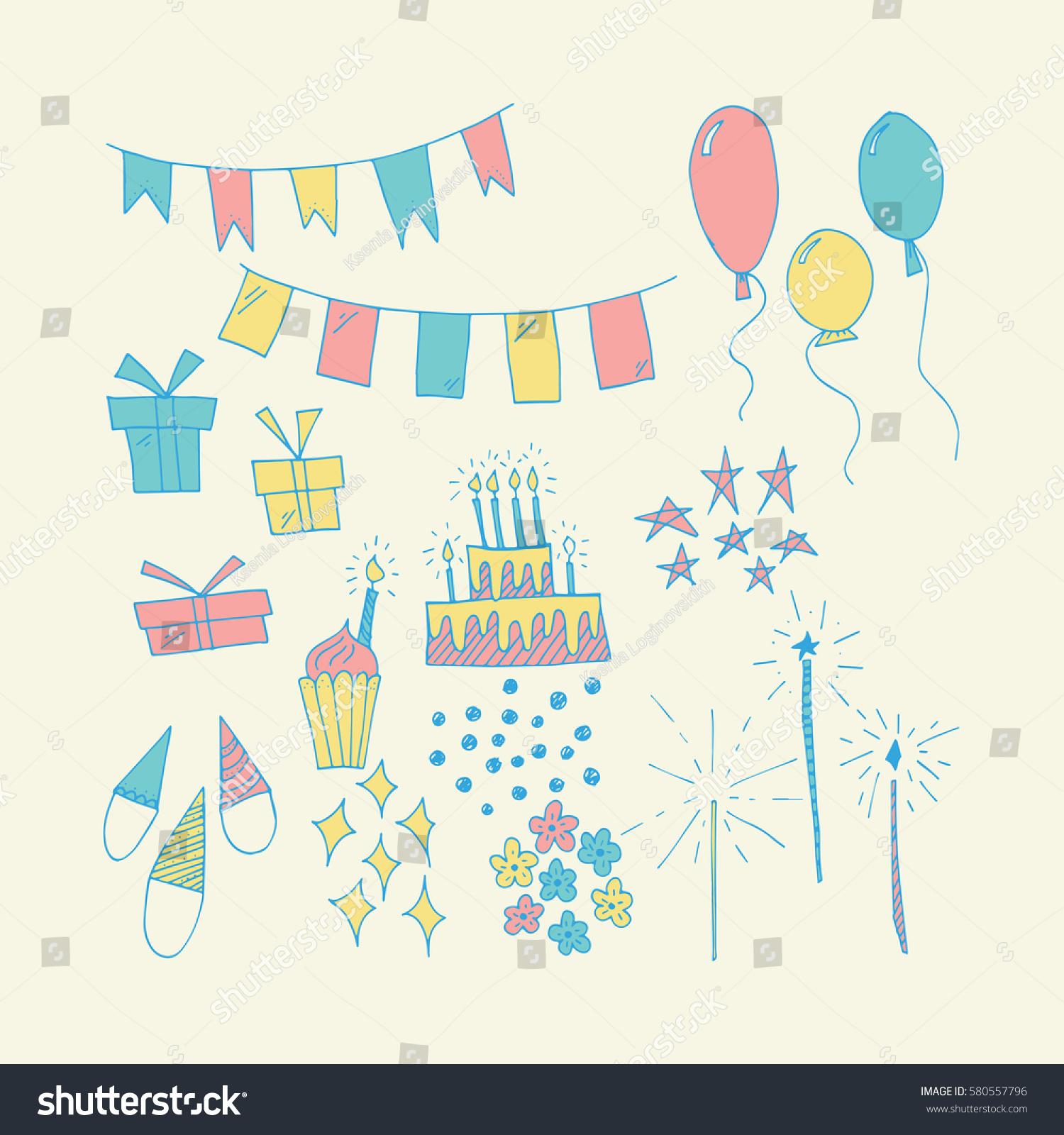 Wonderful Hand Painted Birthday Symbols Amazing Vector – Amazing Happy Birthday Cards