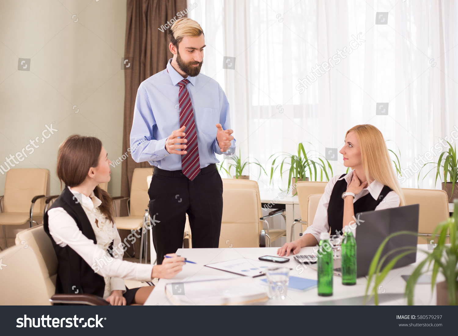 Staff Meeting Discussion Business Meeting Room Stock Photo ...