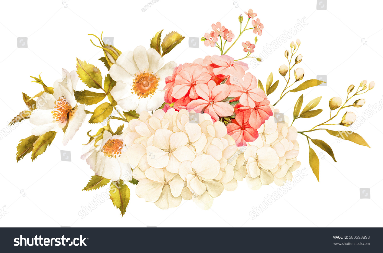 Pink White Jasmine Hydrangea Rose Flowers Stock Illustration