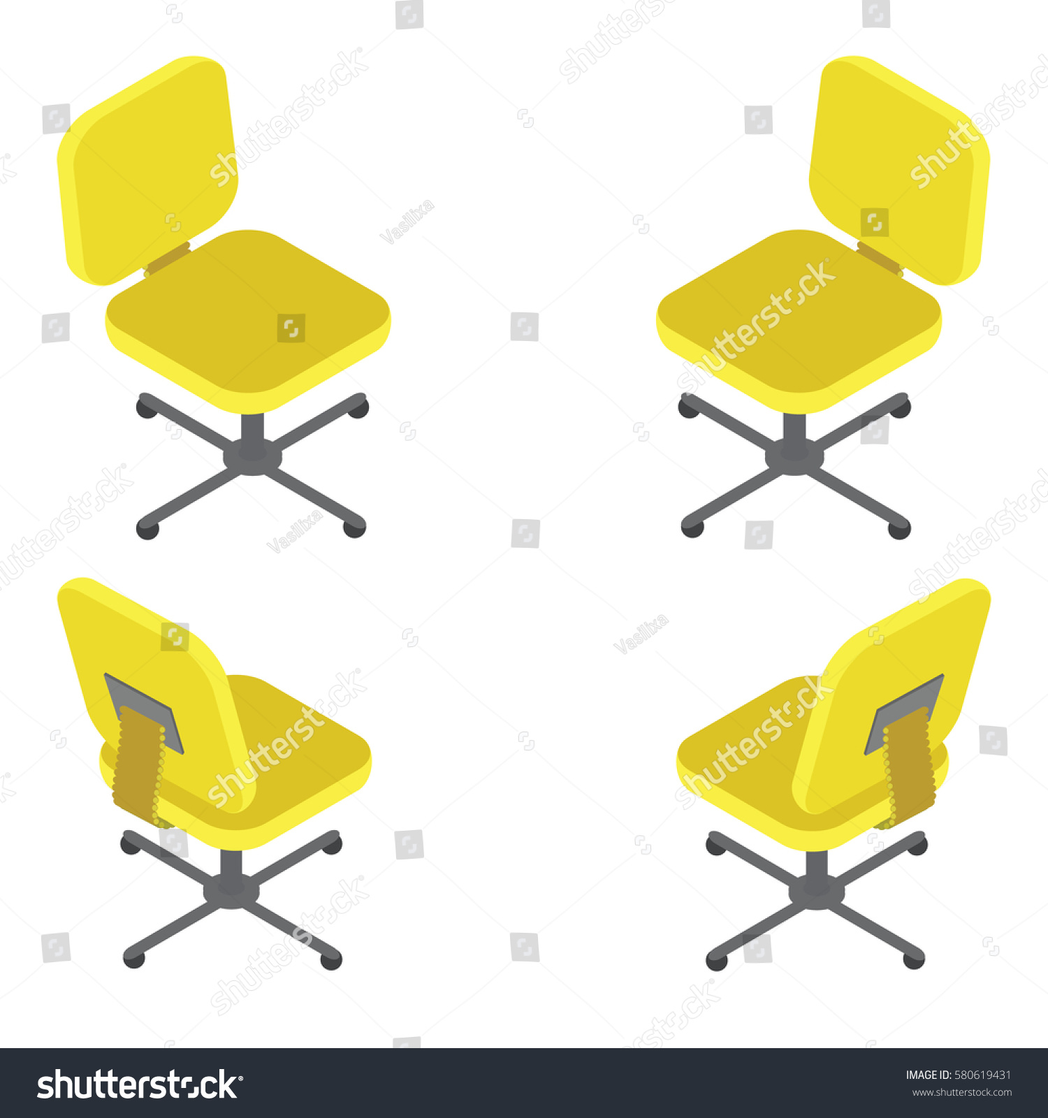isometric office furniture vector collection. Isometric Office Furniture Vector Collection. Collection Set Yellow Chair On White Background Flat 3d .