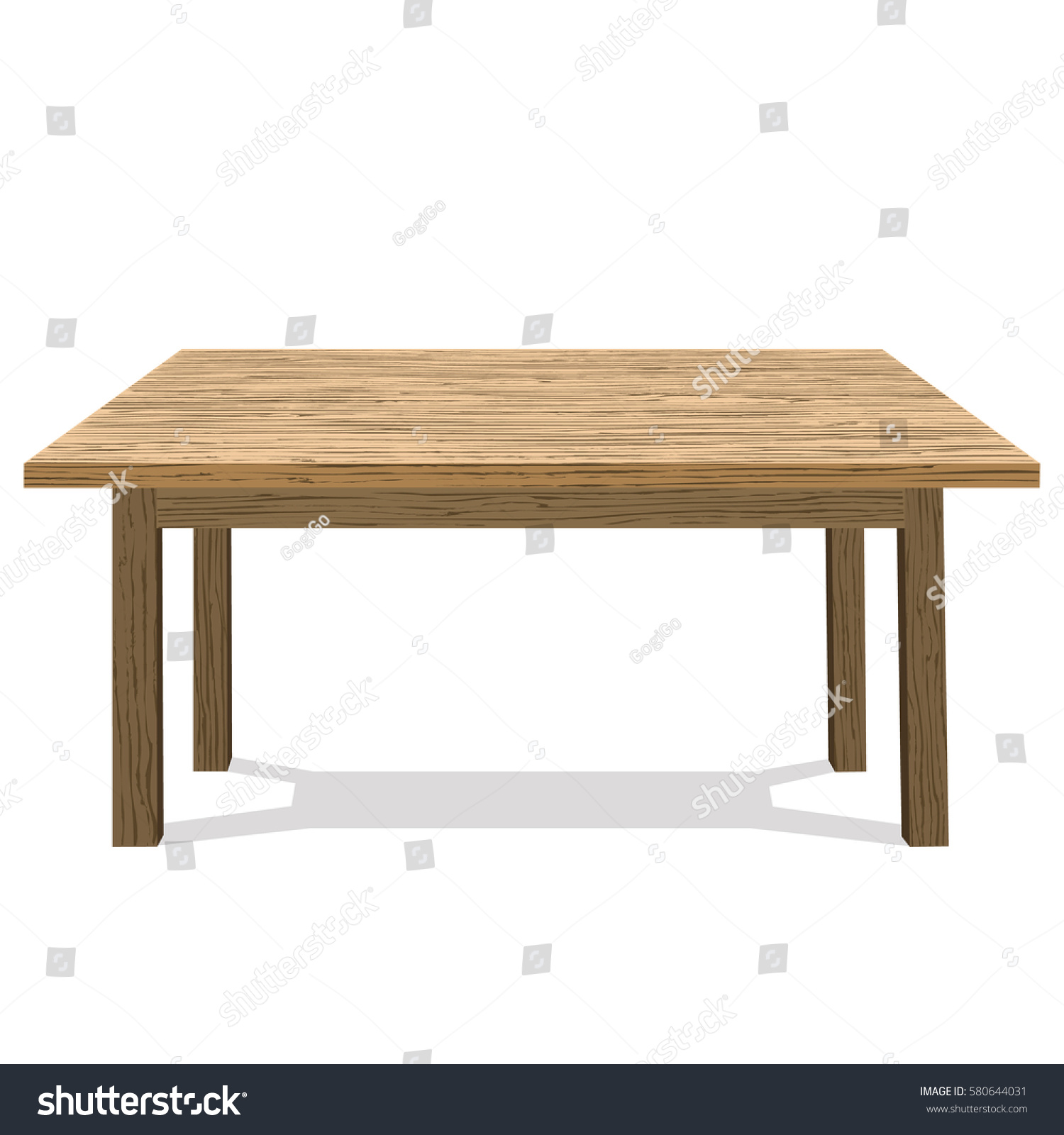 Wooden Table Platform Stand Template Object Stock Vector