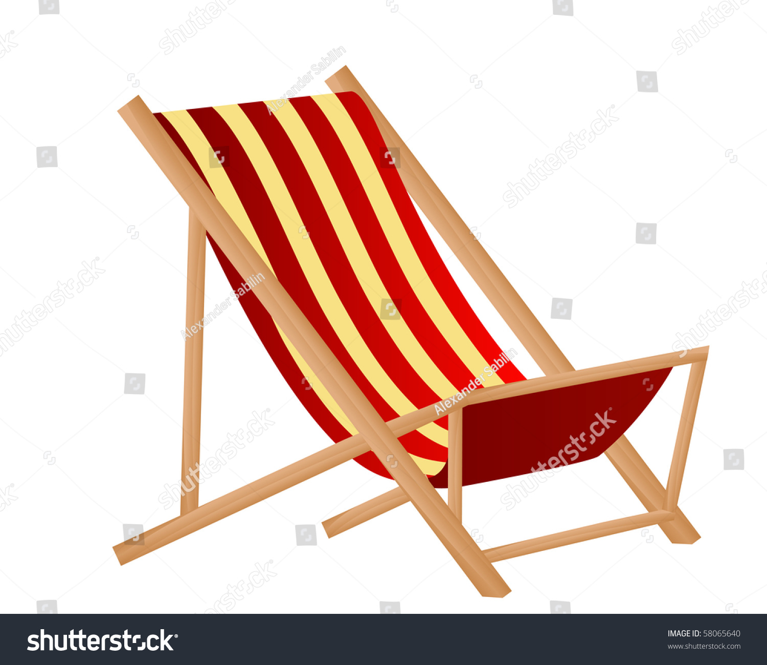 Illustration Striped Sunchair Isolated Over White Stock Vector