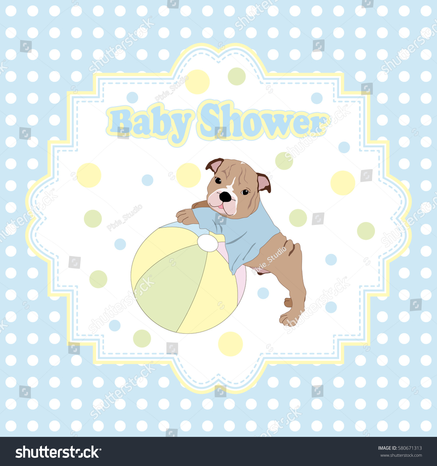 Baby Shower Invitation Card Puppy Ball Stock Vector 580671313 ...