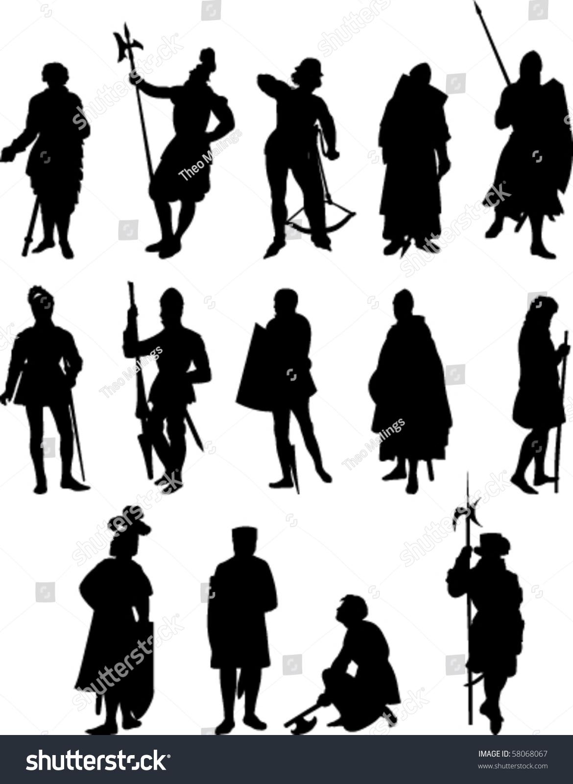 vector set fourteen knight medieval figure stock vector