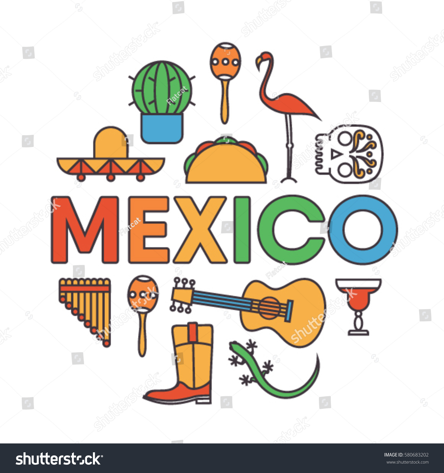 mexico vector outline illustration icon set stock vector 580683202
