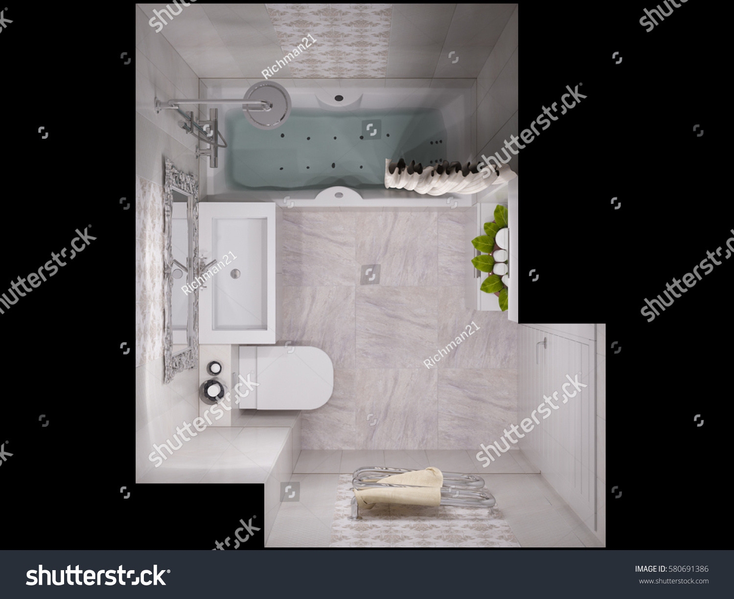 3d Illustration Of A Design Bathroom Interior In Classic Style Render Top View