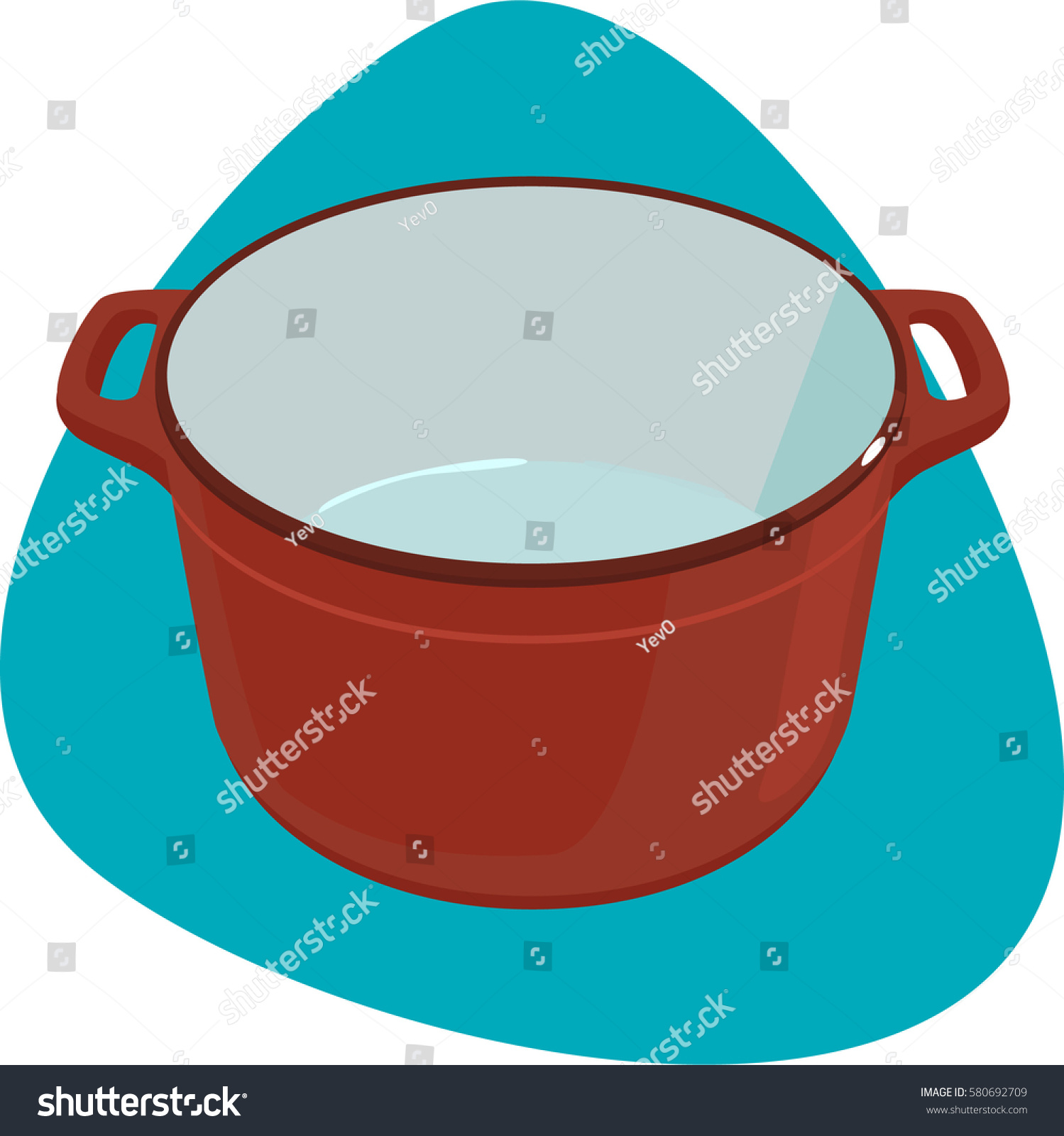 empty enameled castiron pot with handles isolated on blue