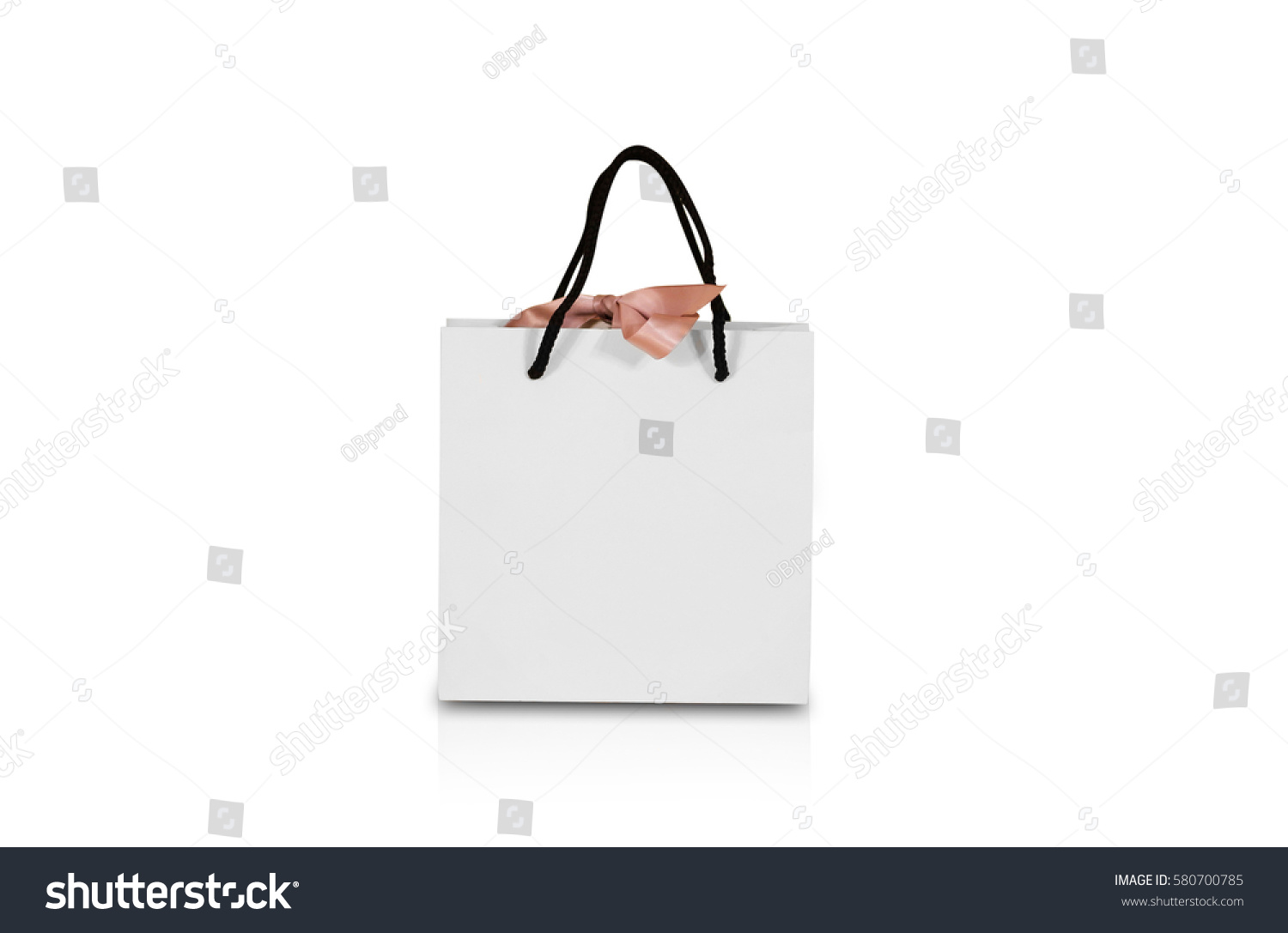 Blank white paper gift bag bow 580700785 shutterstock blank white paper gift bag with a bow mock up isolated on white background negle Image collections