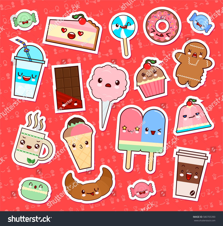 Uncategorized Cute Kawaii Food set cute kawaii food emoticon stickers stock vector 580705390 of cupcake ice cream donuts