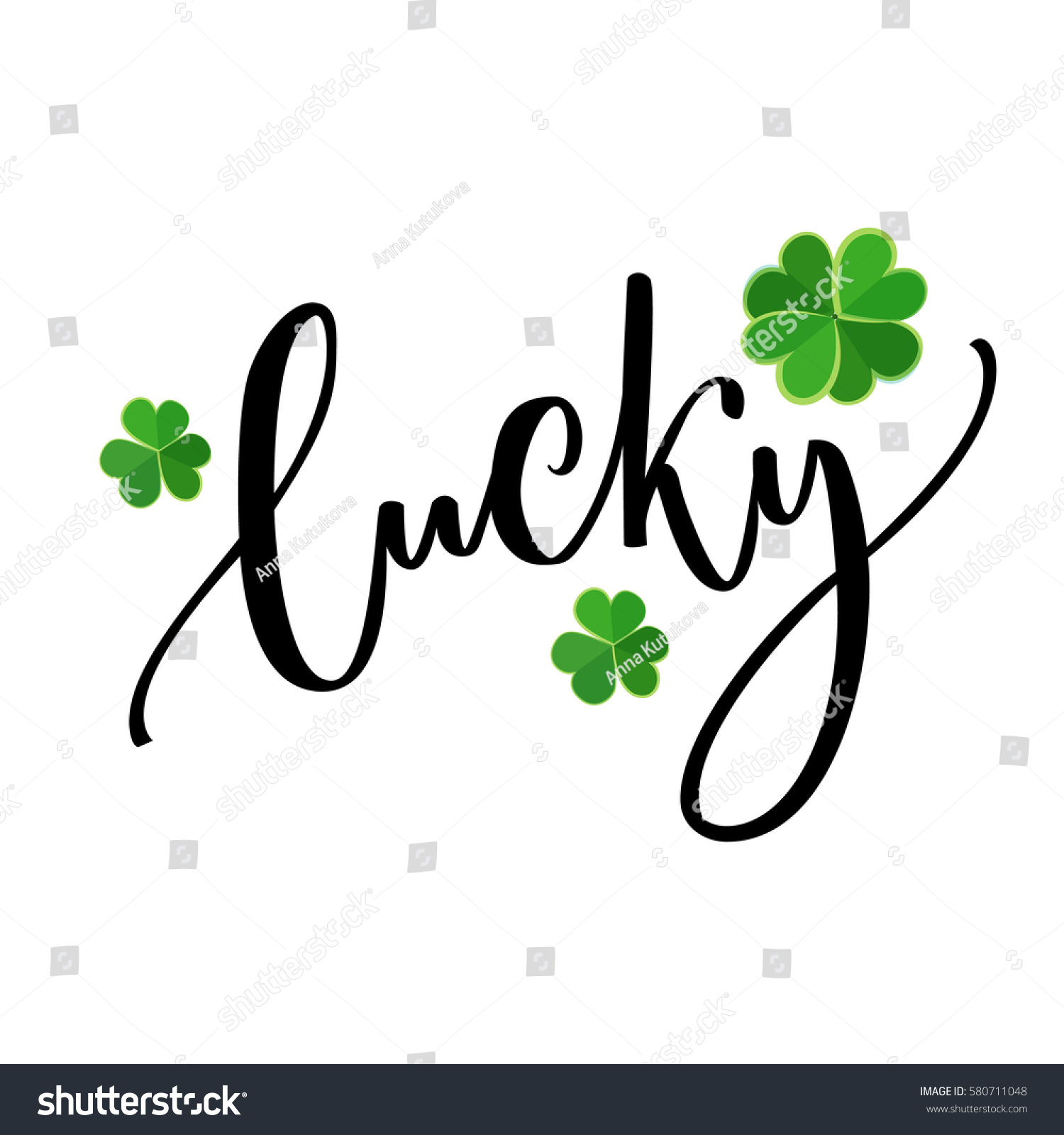 Lucky word - St. Patrick's day lettering for t-shirts and cards. Brush