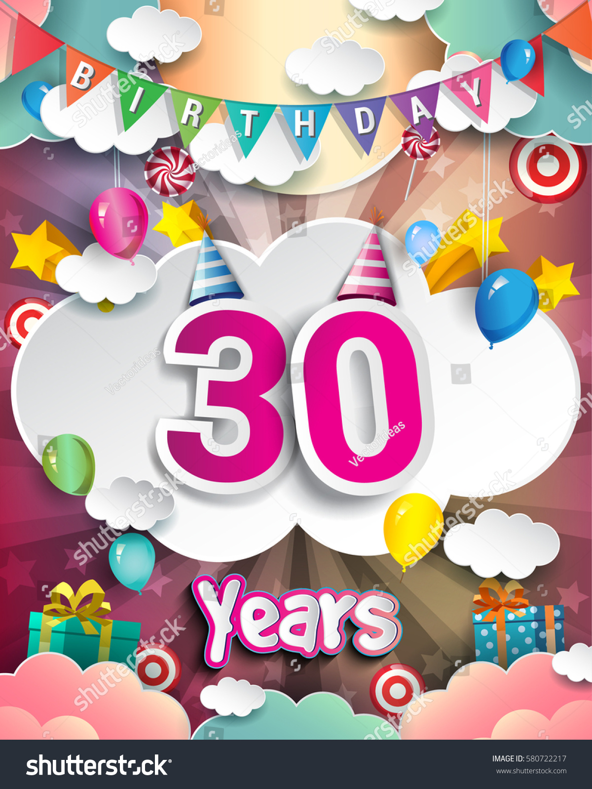 30th Birthday Celebration Greeting Card Design Stock Vector 2018