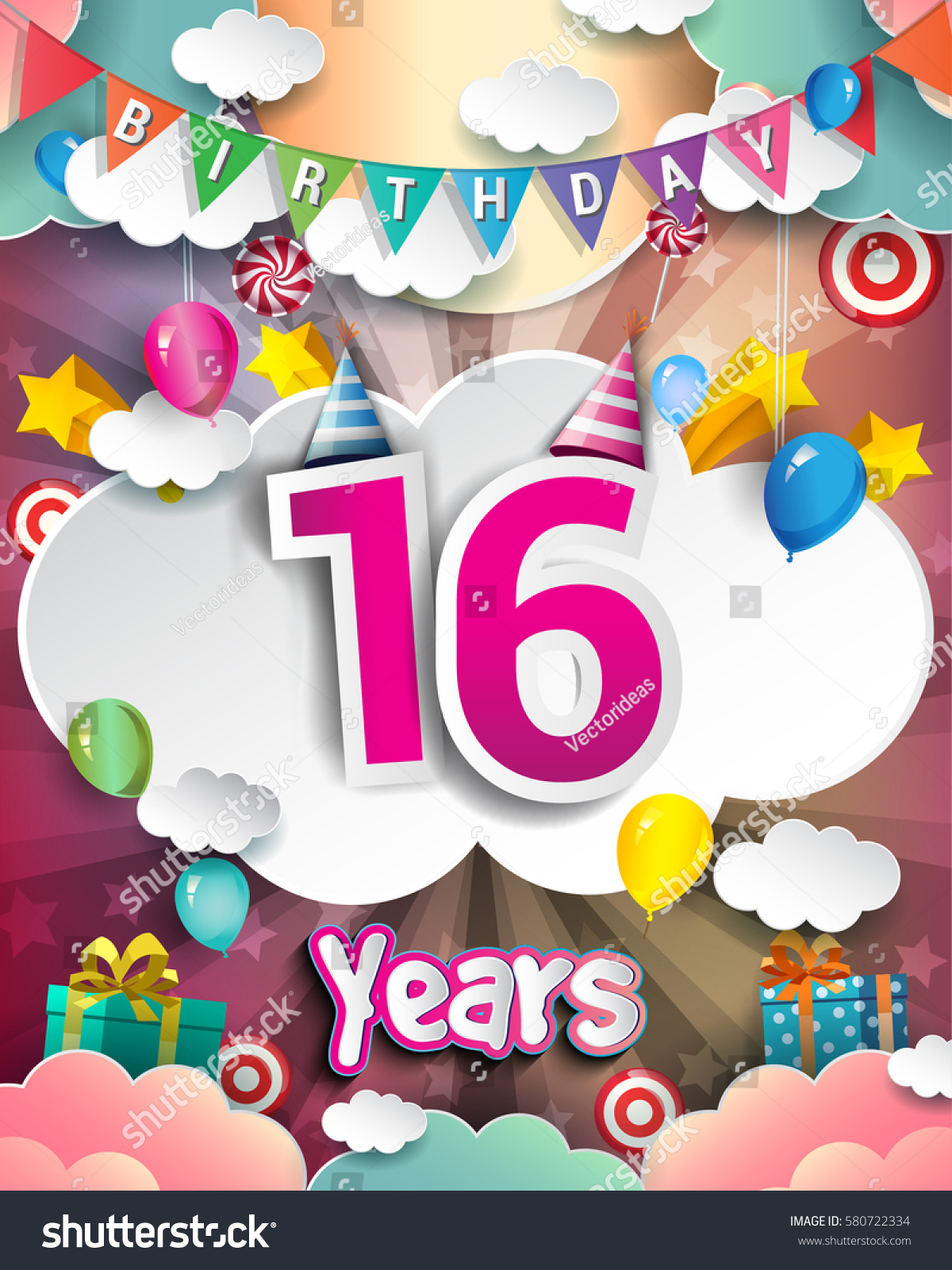 16th birthday celebration greeting card design stock vector royalty 16th birthday celebration greeting card design with clouds and balloons vector elements for the m4hsunfo