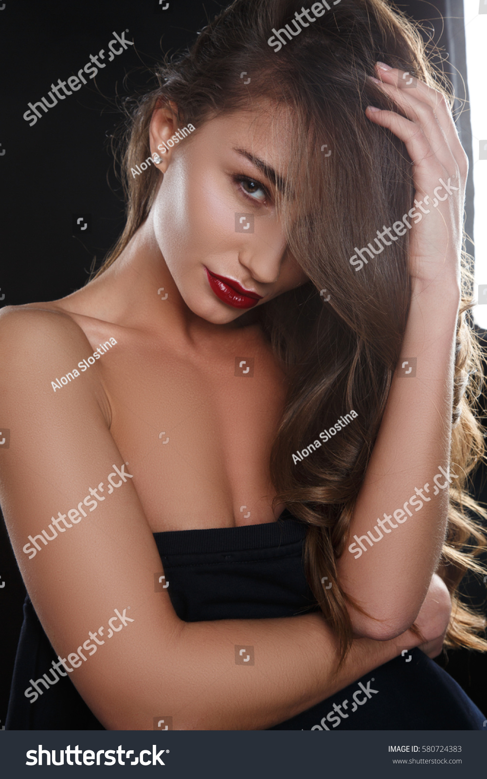 Alona Sexy sexy girl red lipstick stock photo (edit now) 580724383