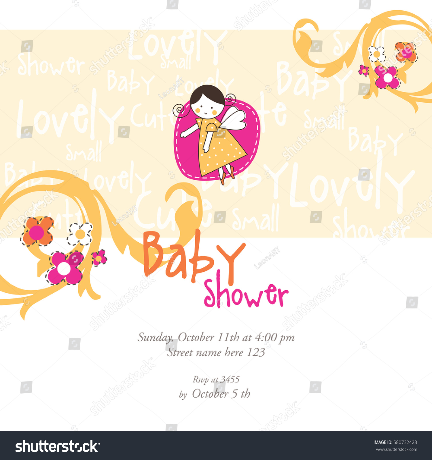 Baby Shower Invitation Template Card Invitation Stock Vector ...