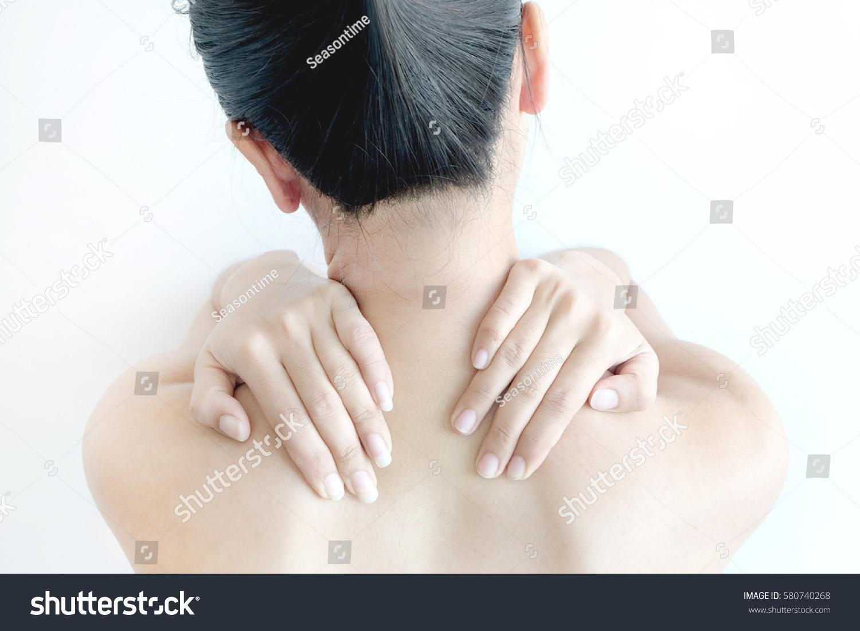 Woman Massage Neck Shoulder Neck Pain Stock Photo Edit Now