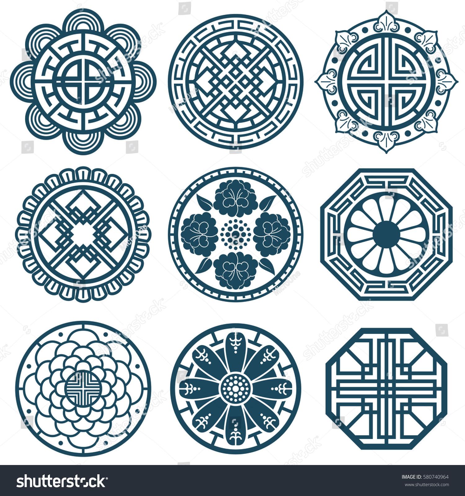 Traditional Korean Symbols Vector Korea Pattern Stock Photo Photo