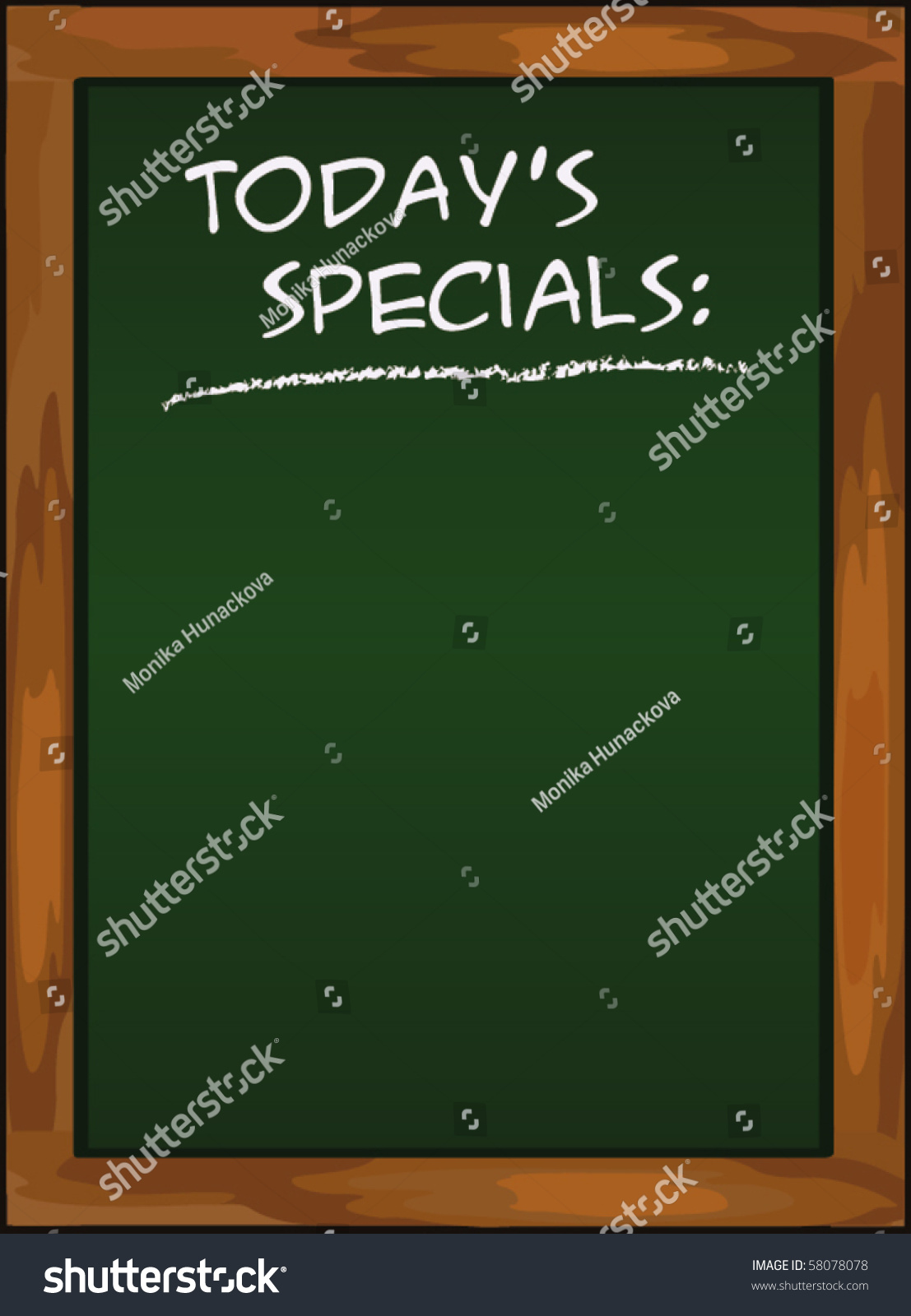 Menu Blackboard Todays Specials Chalkboard Green Stock Vector ...