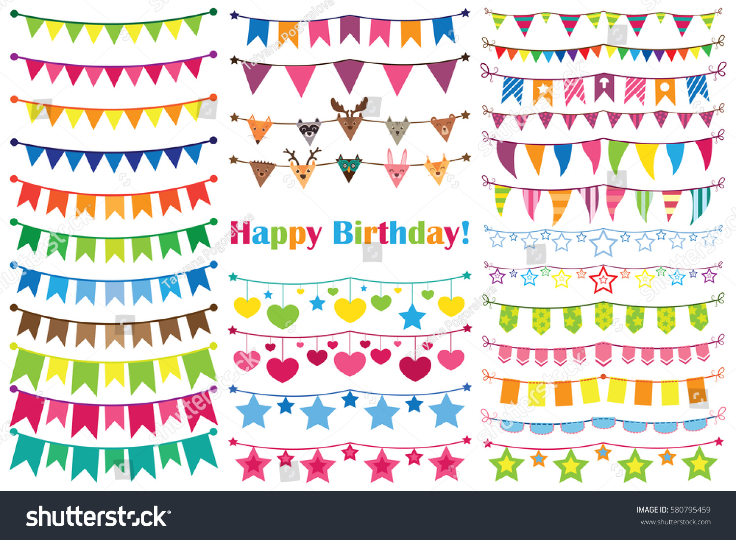 colorful garlands birthday set ornaments vector stock vector