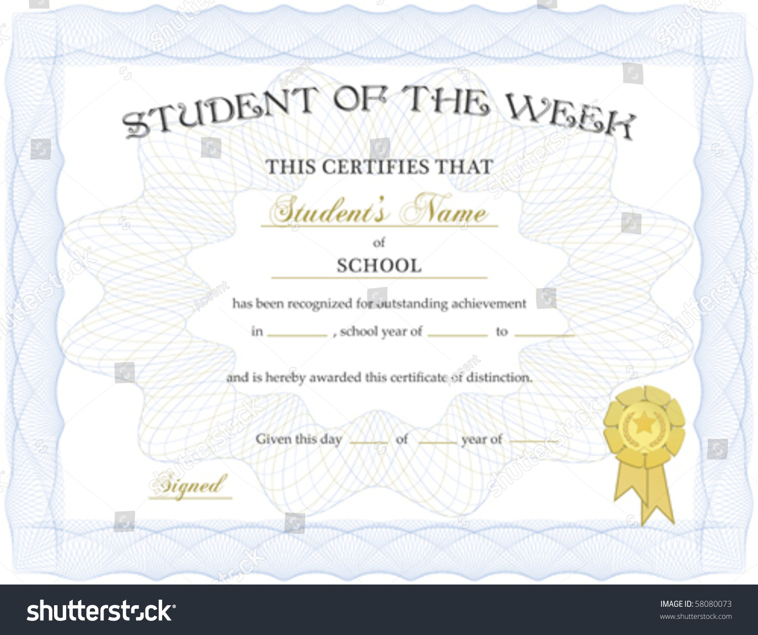 Royalty Free Student Of The Week Certificate Vector 58080073 Stock