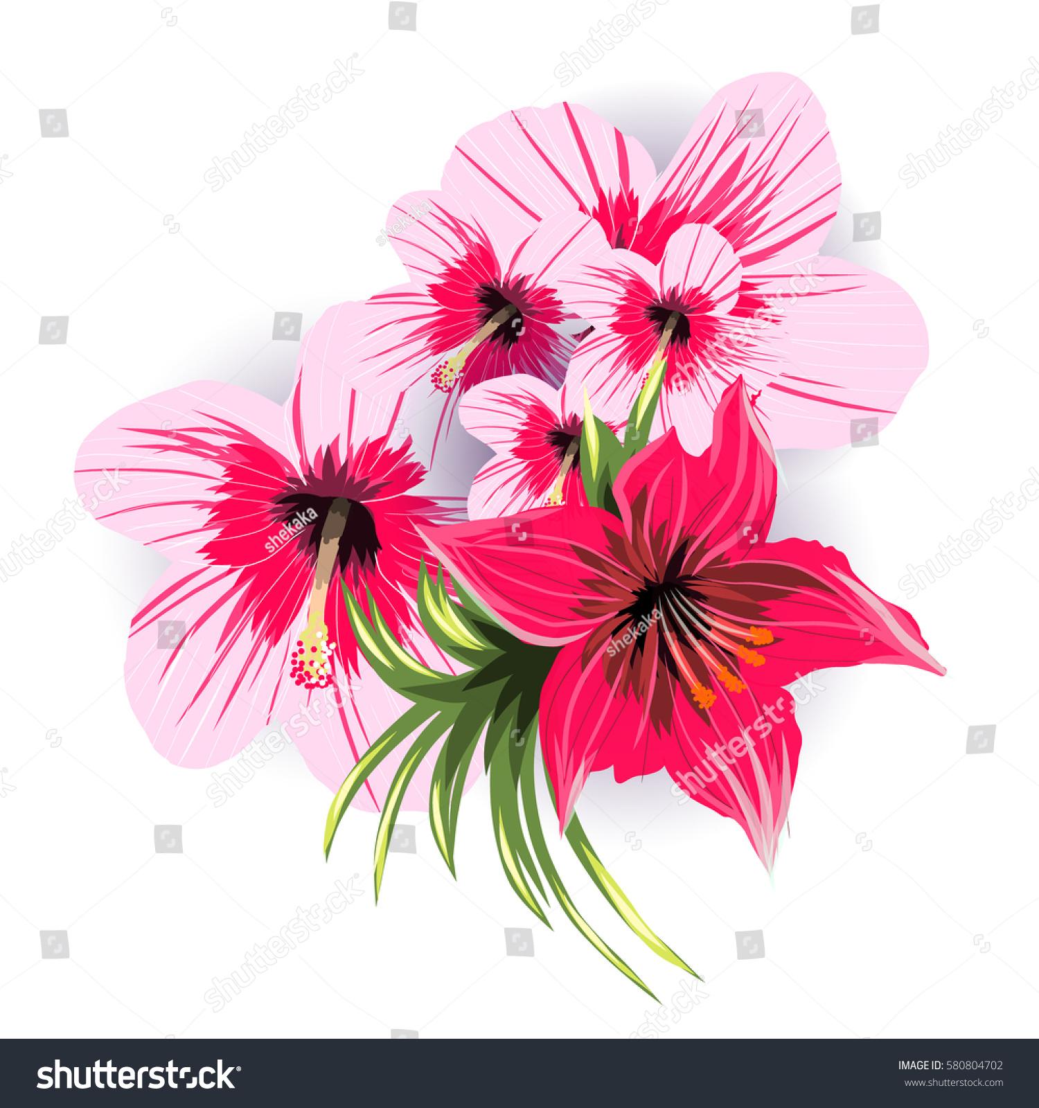 Beautiful Tropical Flowers Bouquet On A White Background Ez Canvas