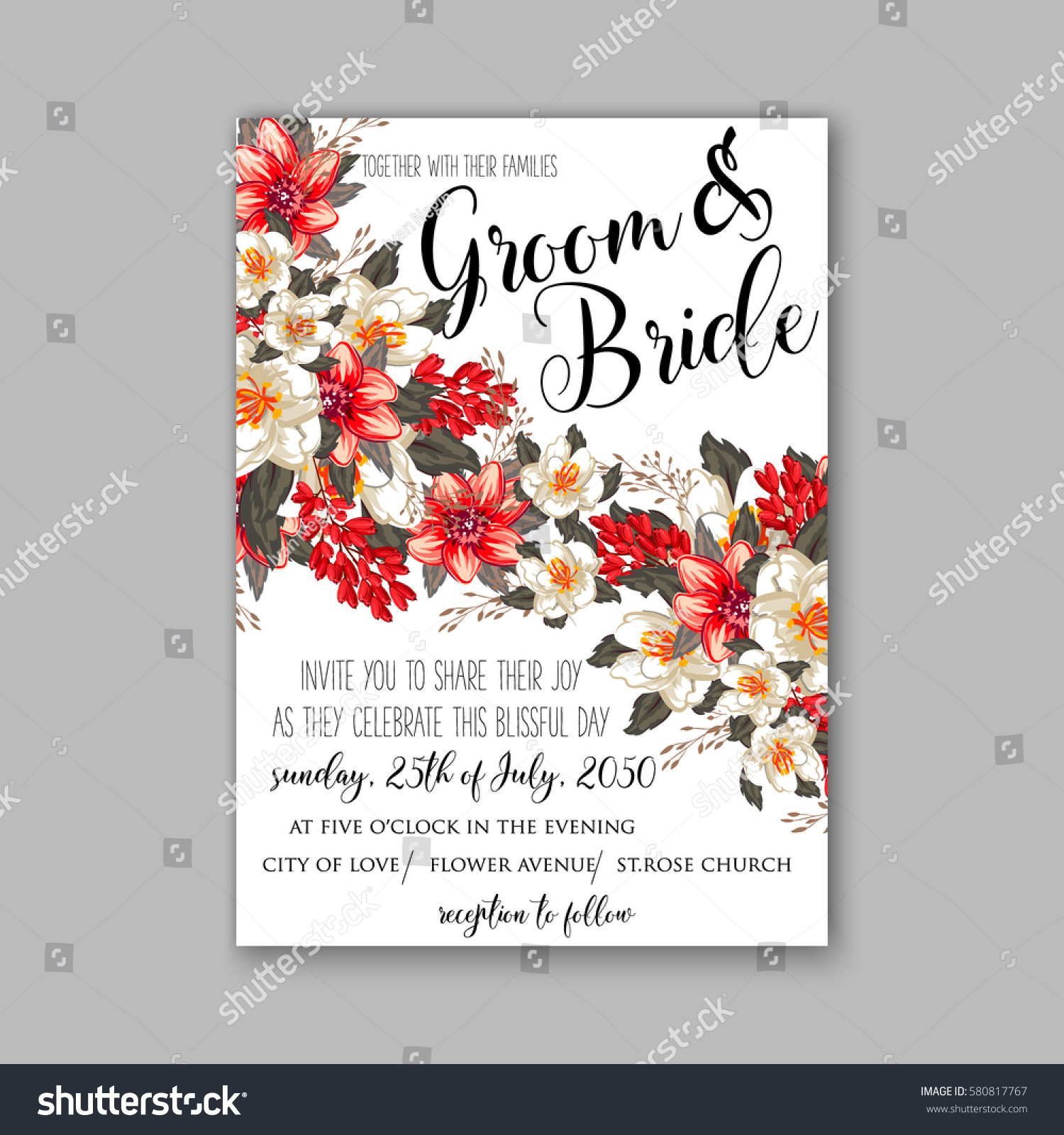 Romantic Wedding Invitation Card Template Red Stock Vector Royalty