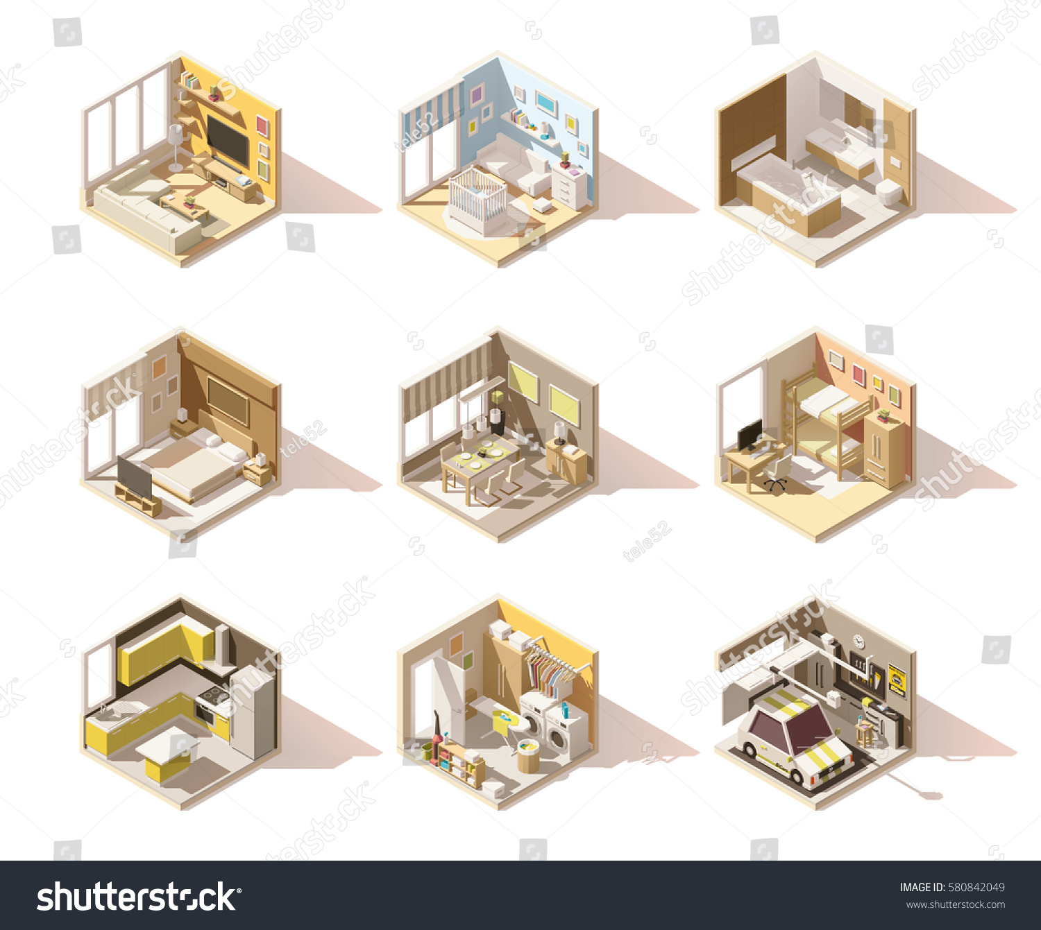 Vector isometric low poly home rooms stock vector for Living room bedroom bathroom kitchen
