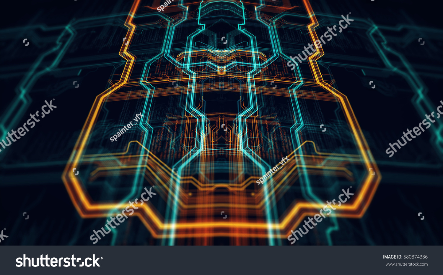 3 D Illustration Circuit Board Futuristic Server Stock Series 3d Animated Model Parallel Code Processing Orange Green Blue Technology