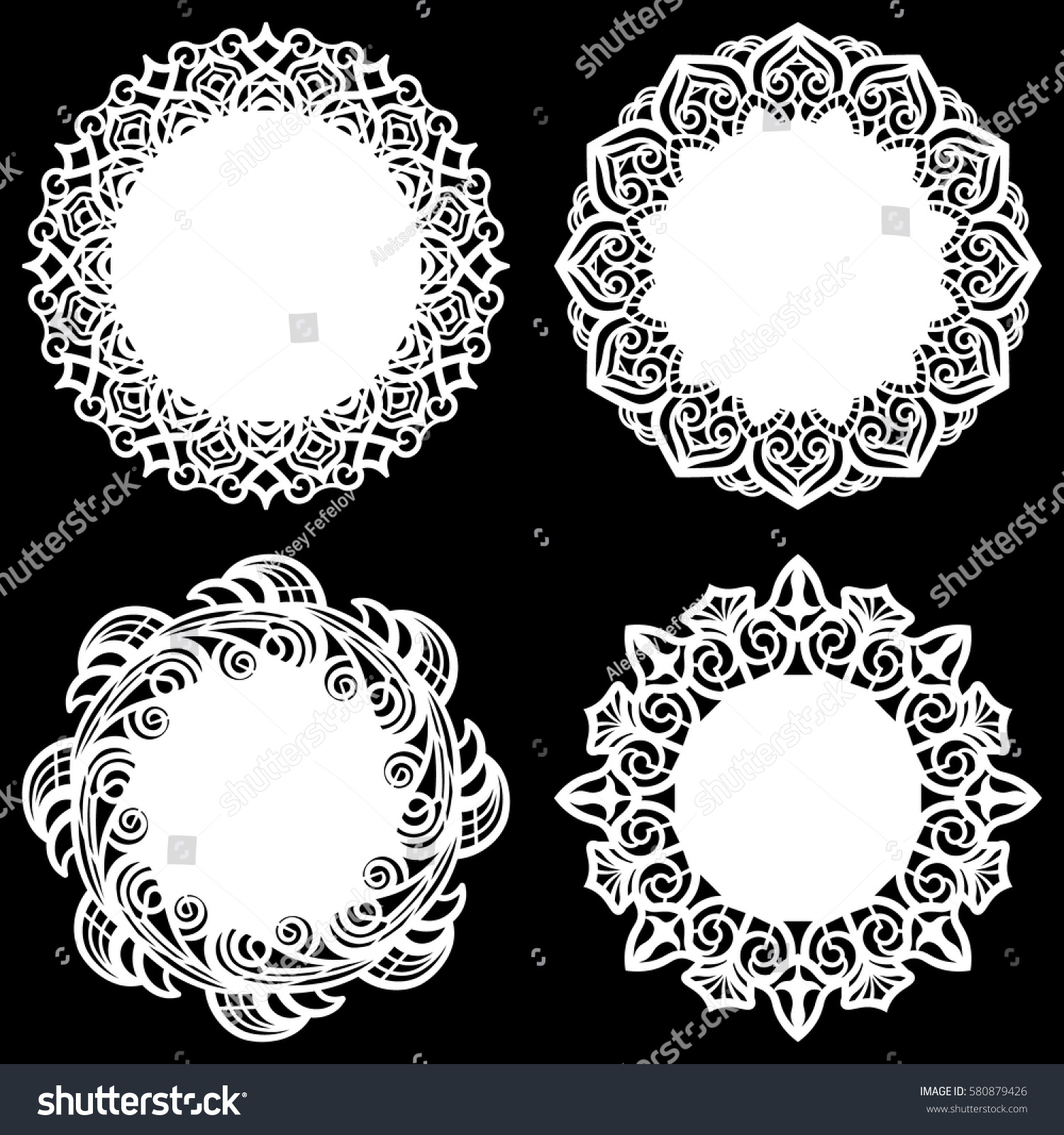 Set Design Elements Lace Round Paper Stock Vector (Royalty Free ...