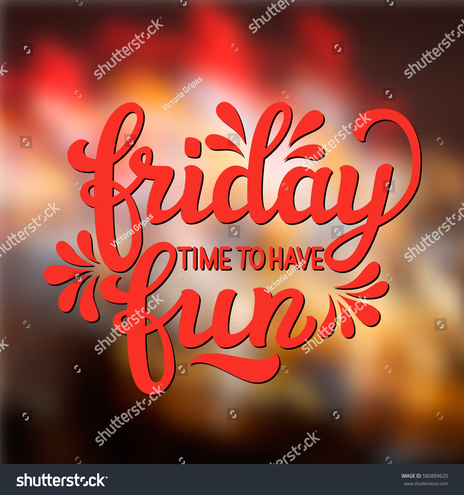 Hand Lettering Typography Text Friday Time Stock Vector Royalty